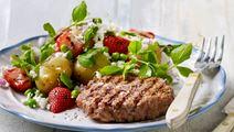 Kartoffelsalat med grillede jordbær