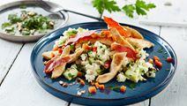 Grøntsagsrisotto med hytteost og kylling