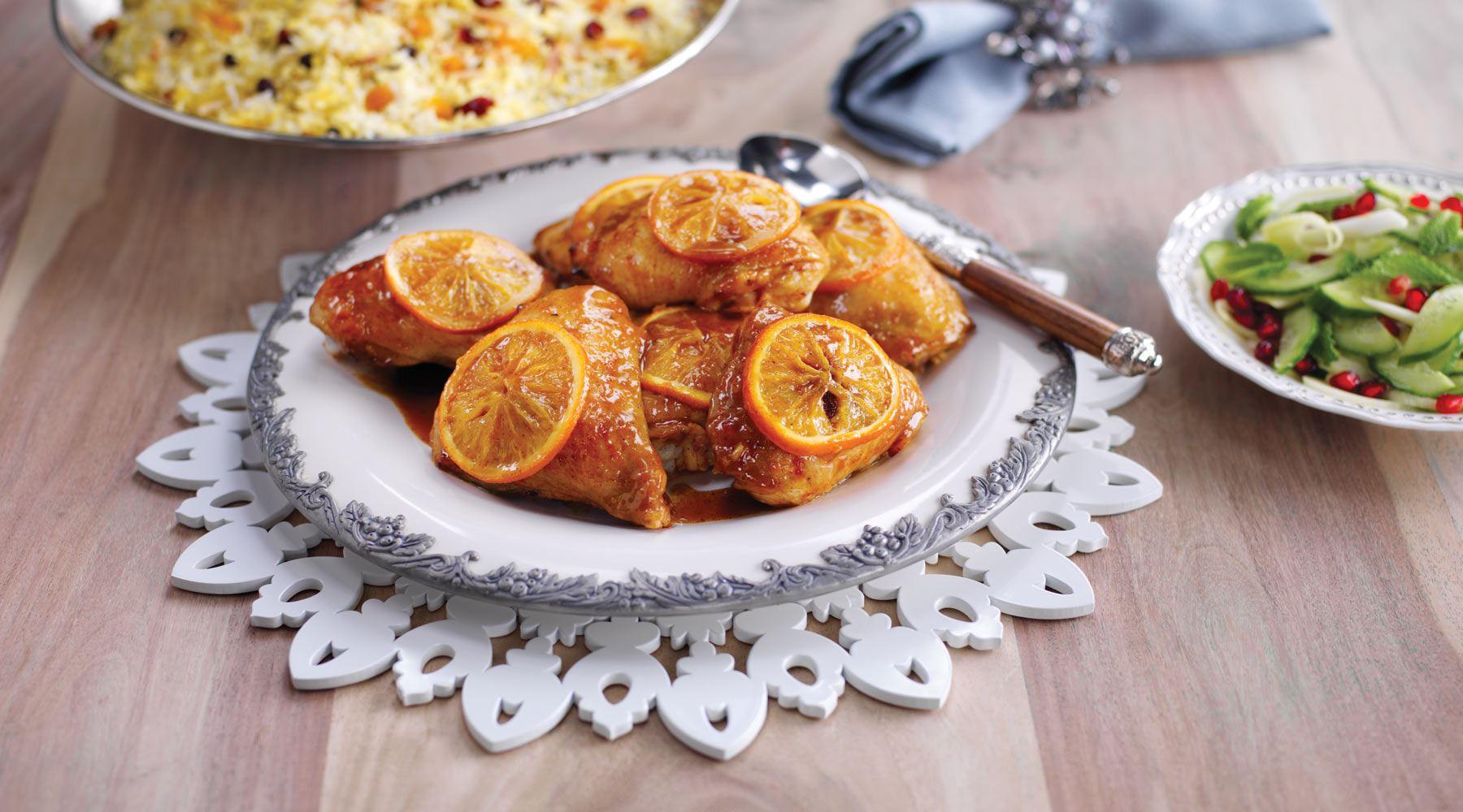 Appelsinbagt kylling med nødderis