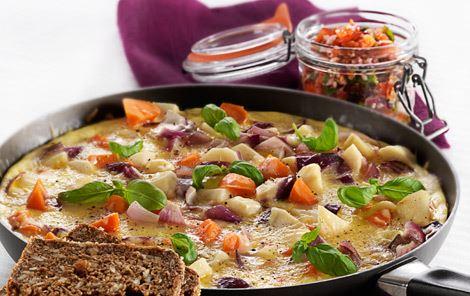 Tortilla med grove grøntsager