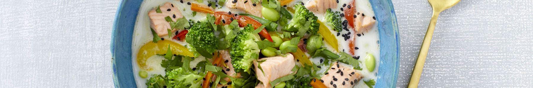 Fedtfattig + Grøntsager + Fisk og skaldyr + Varme supper
