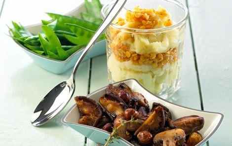 Kartoffelmos og linser med chilisvampe
