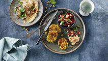 Grøntsagsfrikadeller med tomatsalsa og dip