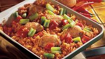 Stegte kyllingelår med tomatris