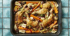 Ovnstegte kyllingelår med grøntsager