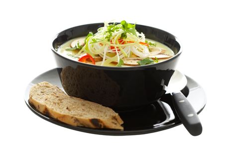 Krydret suppe med champignon og porrer