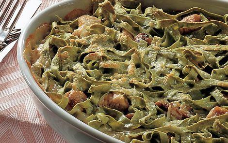 Grøn pasta med kalkun og svampe