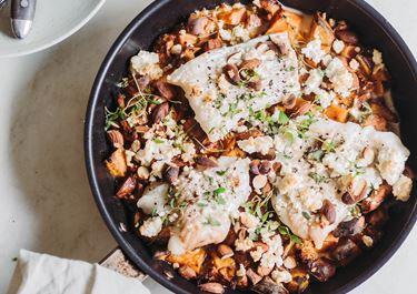 Dampet torsk med søde kartofler