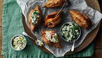 Bagte søde kartofler med to slags dip