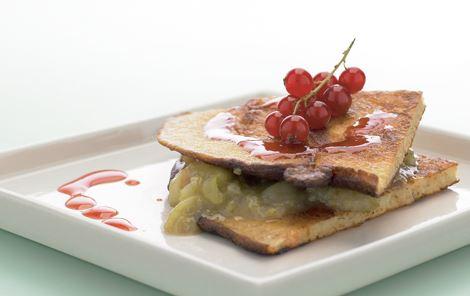 Havrepandekager med stikkelsbærkompot og ribssirup