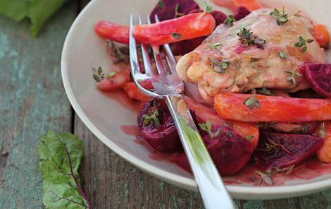 Kyllingelår i rosa sauce