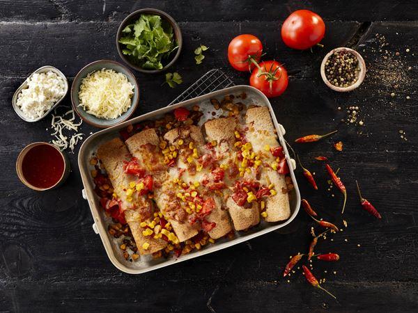 Enchiladas med hytteost og ristede majs