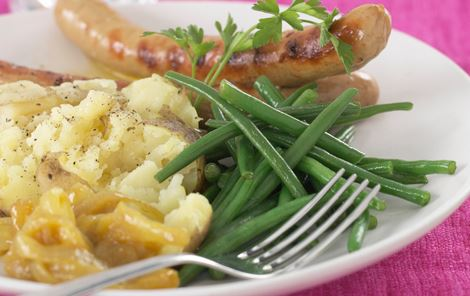 Frankfurtere med 'smashed potatoes'