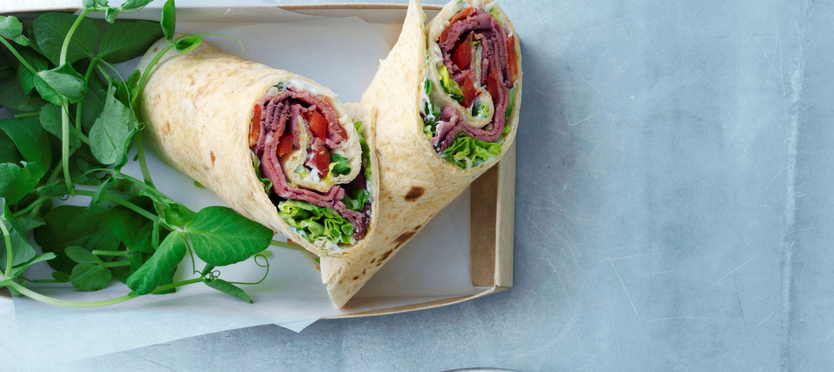 Wrap med roastbeef og peberrodsskyr