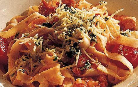 Pasta med kalkun og tomat