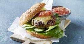 Cheeseburger med rabarberrelish