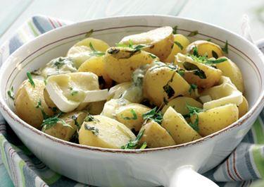 Krydderurtebagte kartofler med blåskimmelost