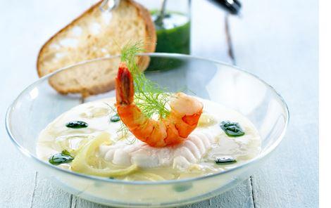 Dampet havtaske i aspargessuppe
