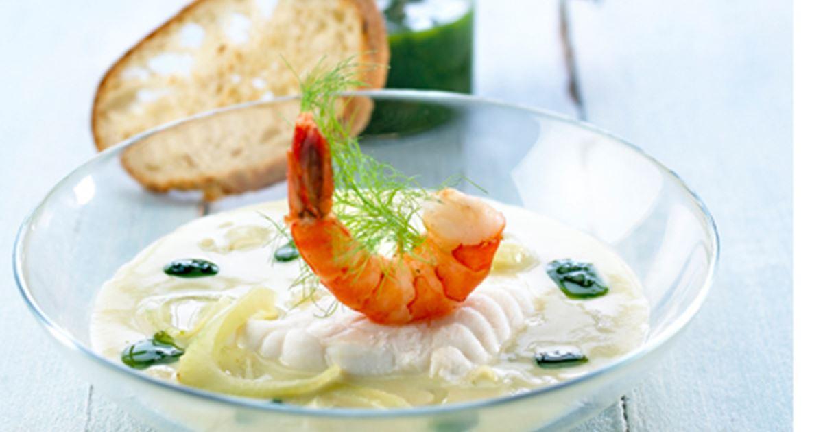 Dampet havtaske i aspargessuppe - Opskrifter - Arla