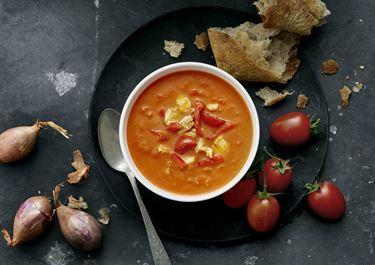 Tomatsuppe med kylling og grillet peberfrugt