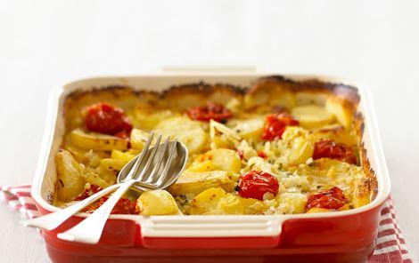 Flødekartofler med tomater