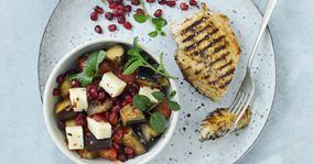 Barbecuekylling med auberginesalat
