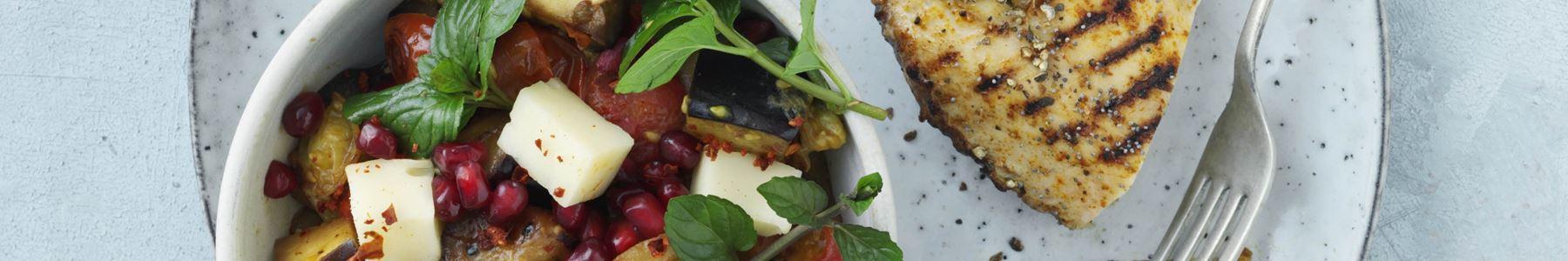 Aubergine + Salater + Hvidløg