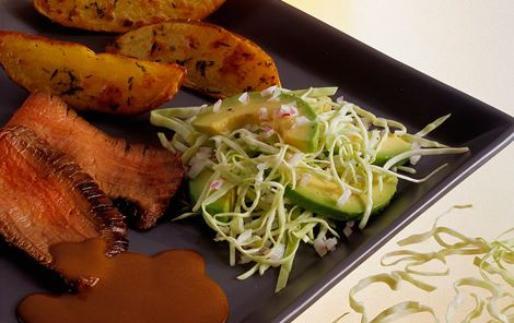 Flanksteak med avocadosalat