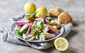 Aspargessalat med perlespelt og kylling