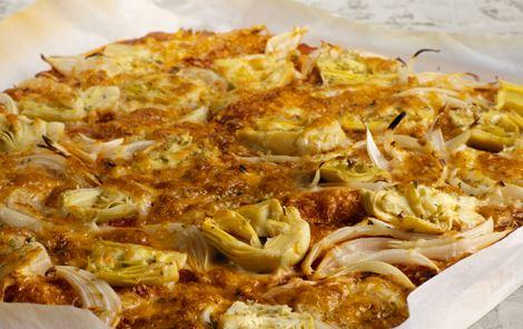 Pizza med artiskokhjerter