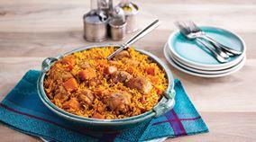 Krydrede bagte ris med kylling og græskar