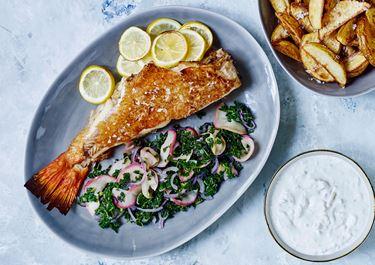 Rødfisk med lun salat