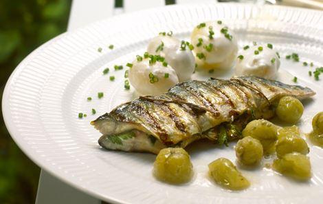 Grillet makrel og stikkelsbærkompot