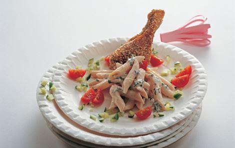 Rikkes Fried Chicken - Kyllingelår med sesam