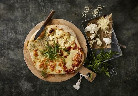 Pizza med 4 slags ost