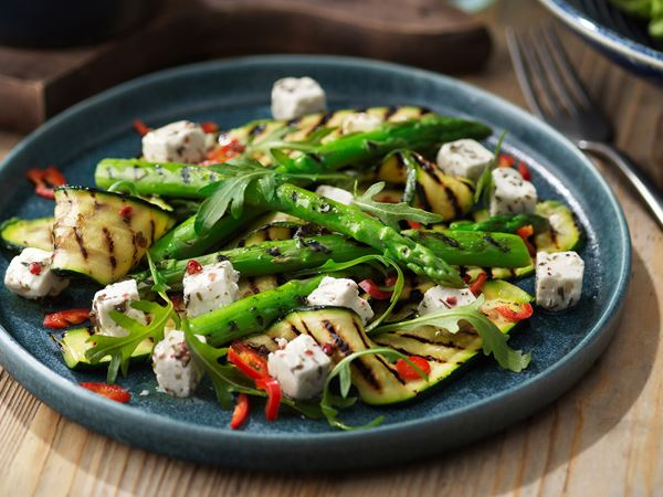 Grillede asparges og squash