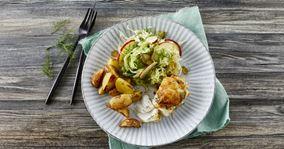 Ostegratineret fisk med ovnkartofler