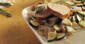 Mørbrad og flødesauce med squash
