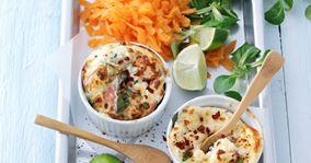 Ovnbagt æggekage med hytteost, skinke og spinat