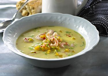 Suppe med rejer og fersken