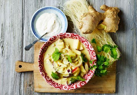 Thaisuppe med ingefærkrydret creme