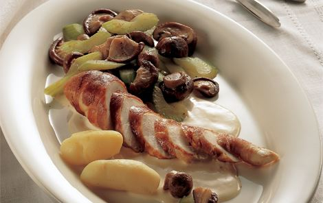 Bearnaisesauce til kyllingebryst og shiitakesvampe
