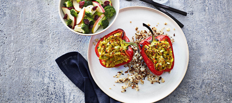 Fyldte vegetariske peberfrugter