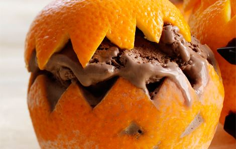 Appelsiner med chokoladeis