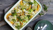 Kartoffelfad med græskar og bagt torsk