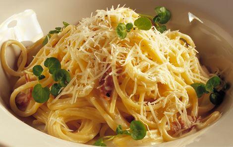 Spaghetti med bacon og ostesauce