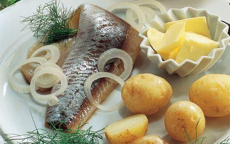 Marinerede sild med kartofler og dild