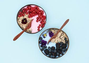 Kokosskyr bowl med chiafrø og bær