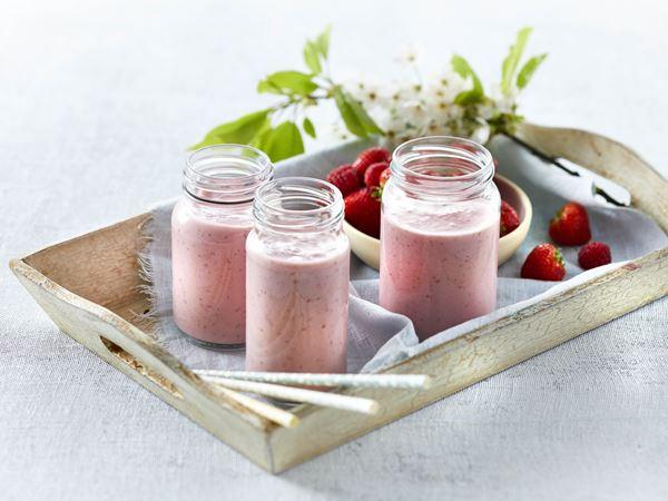Jordbærsmoothie med hindbær