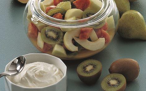 Frugtsalat med soft ice